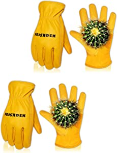 2 Pairs Leather Work Gloves, Cowhide Thorn Proof Gardening Gloves for Men Safety Working Glove for Heavy Duty Garden Construction with Durable Grip Reinforced Palm Patch