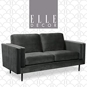 "Elle Decor Simone Living Room Sofa Couch, Mid-Century Modern Fabric Loveseat for Small Space, 73"", Onyx Velvet"