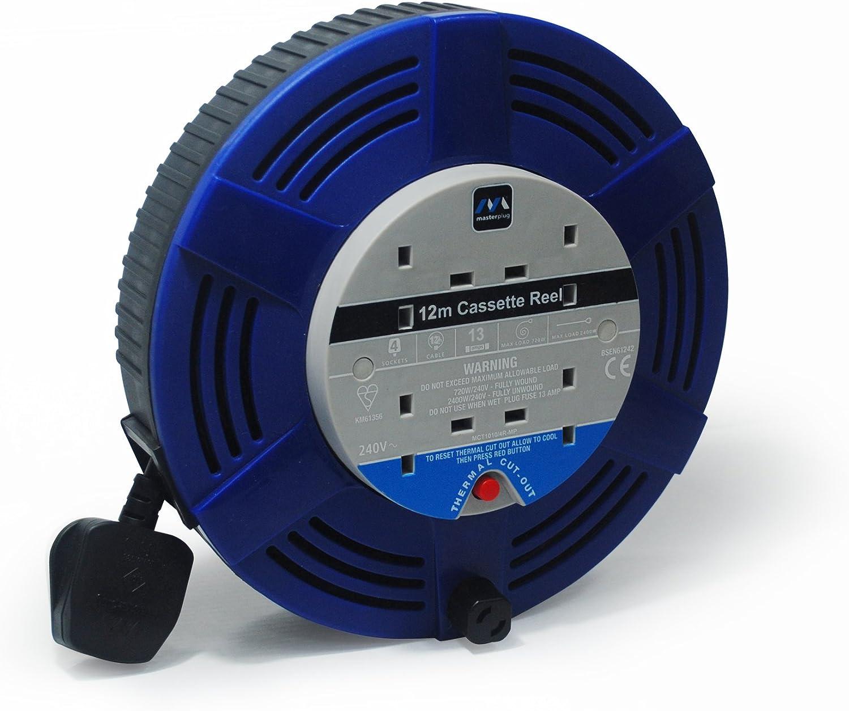 Faithfull Easy Rewind 4-Way Socket Cable Reel 20m 10A 230V