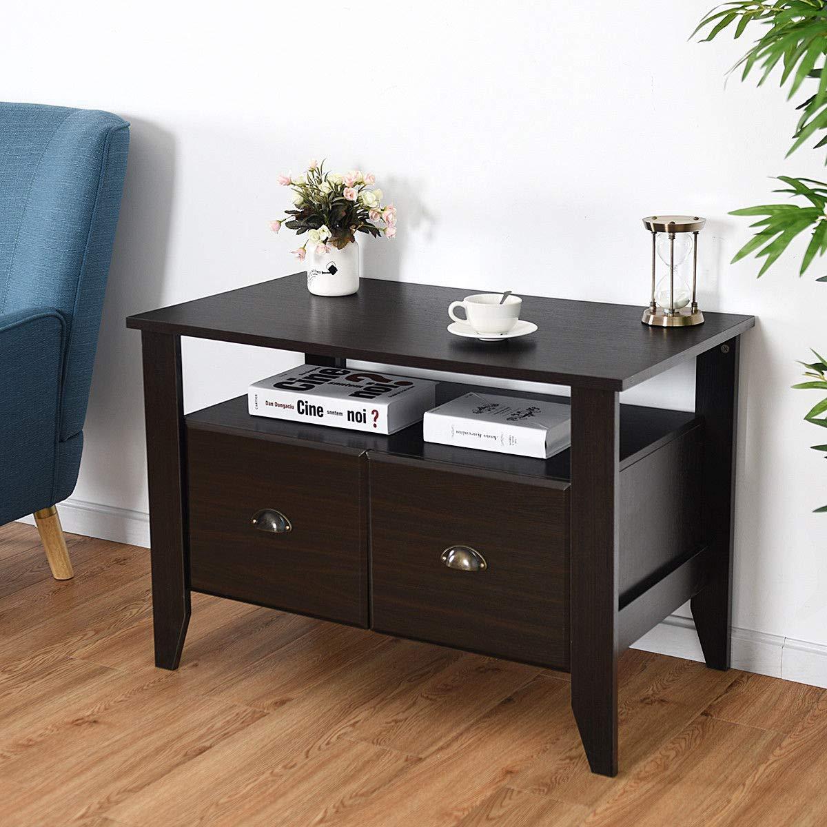 Amazon.com: Mueble de café para TV con 2 cajones ...