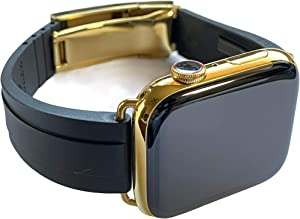 Custom 24K Gold Plated 44mm iWatch Series 6 with Deployment Oysterflex Rolex Buckle 2020 Release