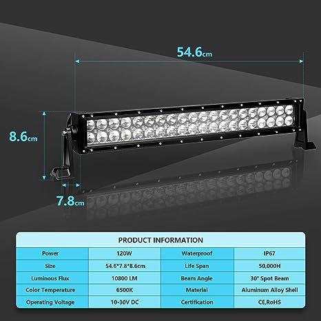 Hengda 120W LED Arbeitsscheinwerfer mit Schalter 10800LM Scheinwerfer 12V Zusatzscheinwerfe Flutlicht Reflektor Spotlight Combo f/ür Auto Offroad Traktor IP67 Wasserdicht LED Strahler