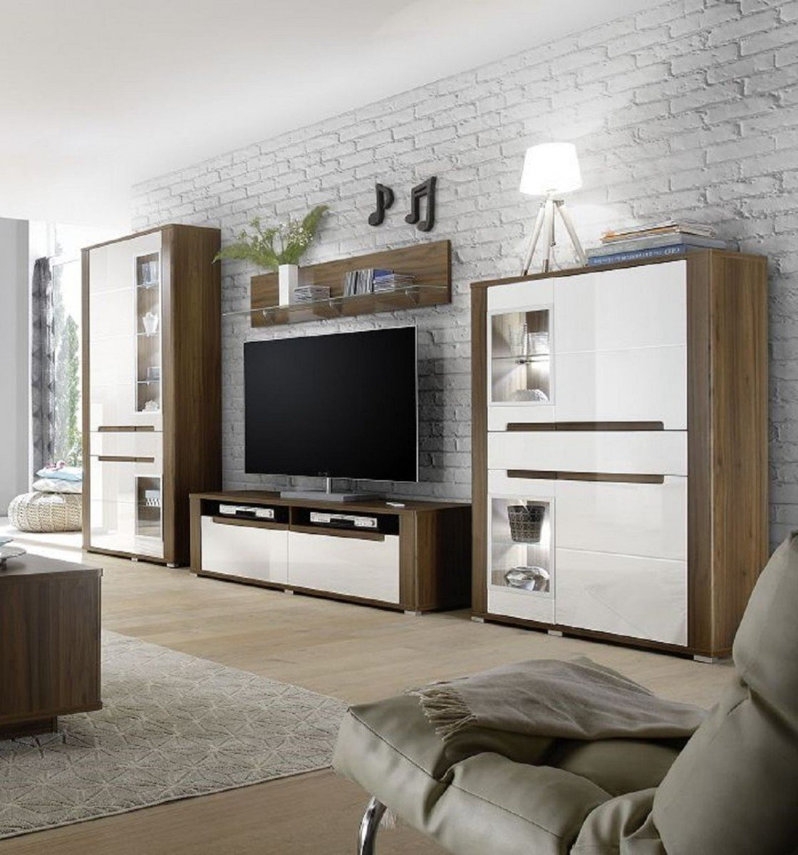 dreams4home wohnzimmer set 39 polli 39 set vitrine highboard tv schrank wandboard phono m bel. Black Bedroom Furniture Sets. Home Design Ideas