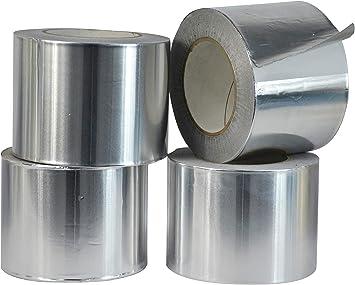 4in x 50yds T.R.U Pack of 2 AF Heat Shield Resistant Aluminum Foil Tape HVAC