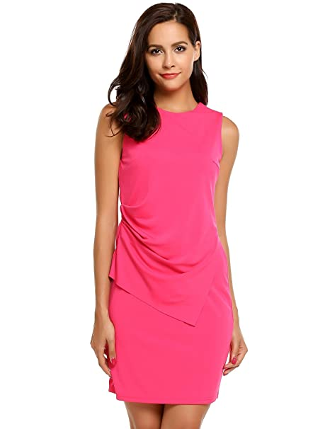 661f17a20ff2e AL'OFA Women's Scoop-Neck Solid Sleeveless Short Fitted Dress, Carmine,  X-Large
