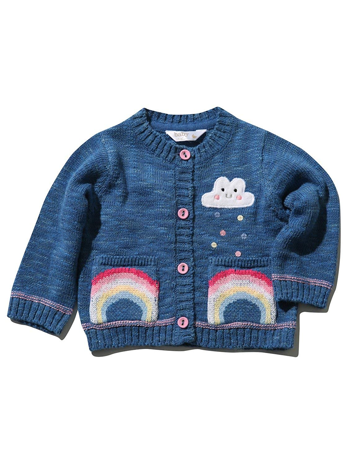 M&Co Baby Girls Cotton Long Sleeve Ribbed Trim Embroidered Rainbow Cardigan