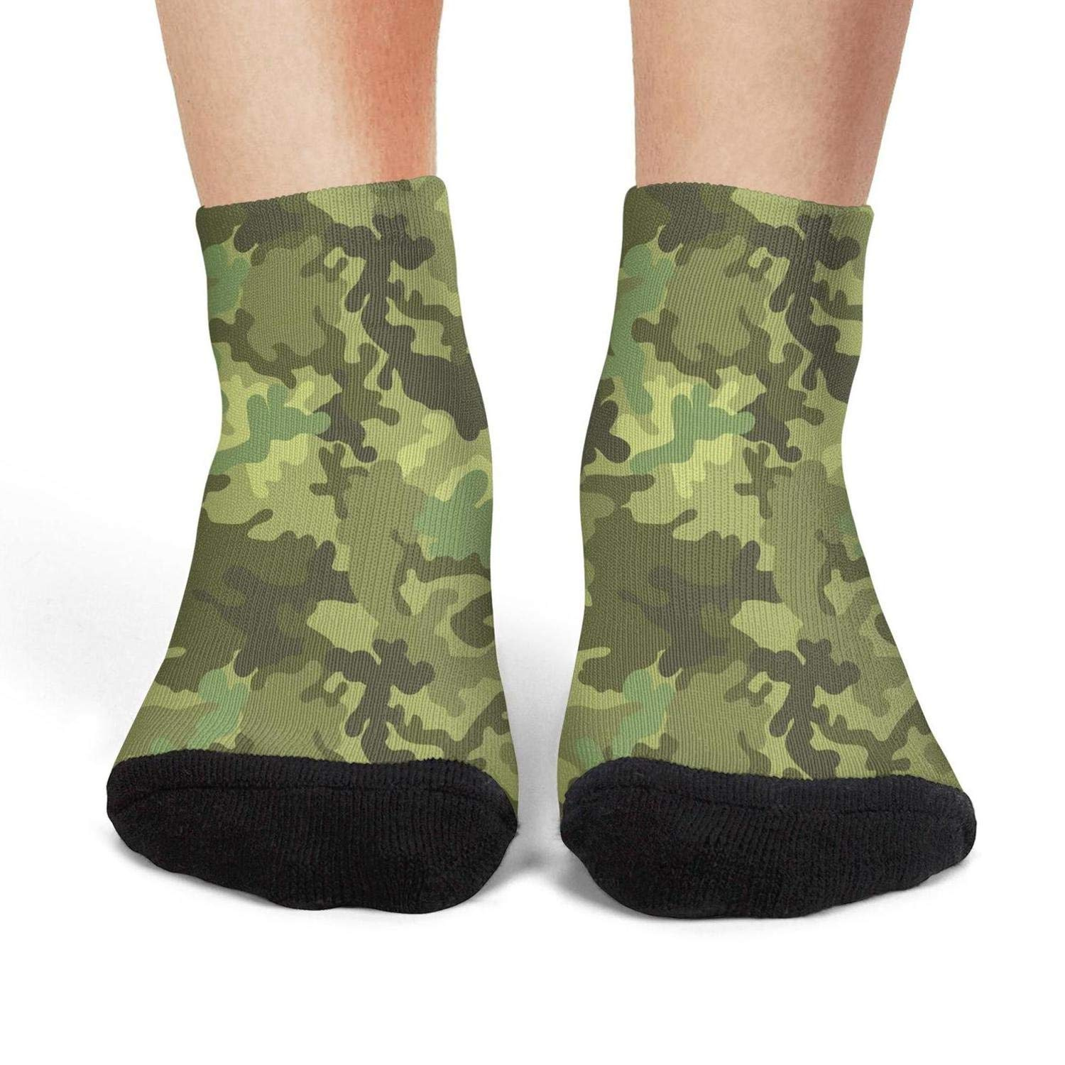 Mens low cut athletic Ankle sock green camo army print Non-Slip Short Sock