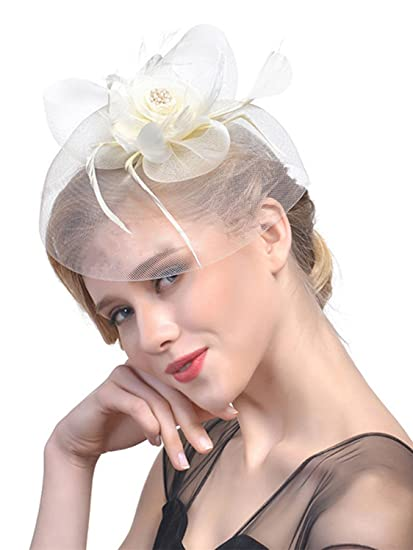 e4618387a04 LITHER Women Fascinator Hat Flower Mesh Bow Feather Party Pillbox Hat  Flower Derby Hat