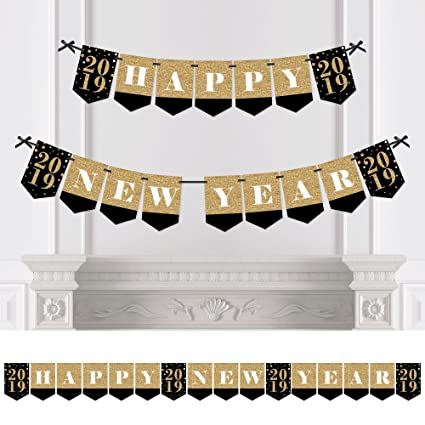 new years eve gold new years eve party bunting banner happy new year