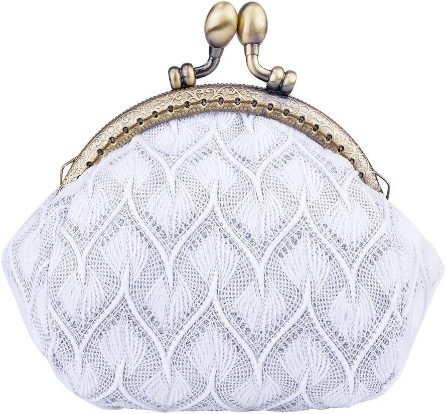 Kiss lock coin purse cotton linen fabric Big eyes girl