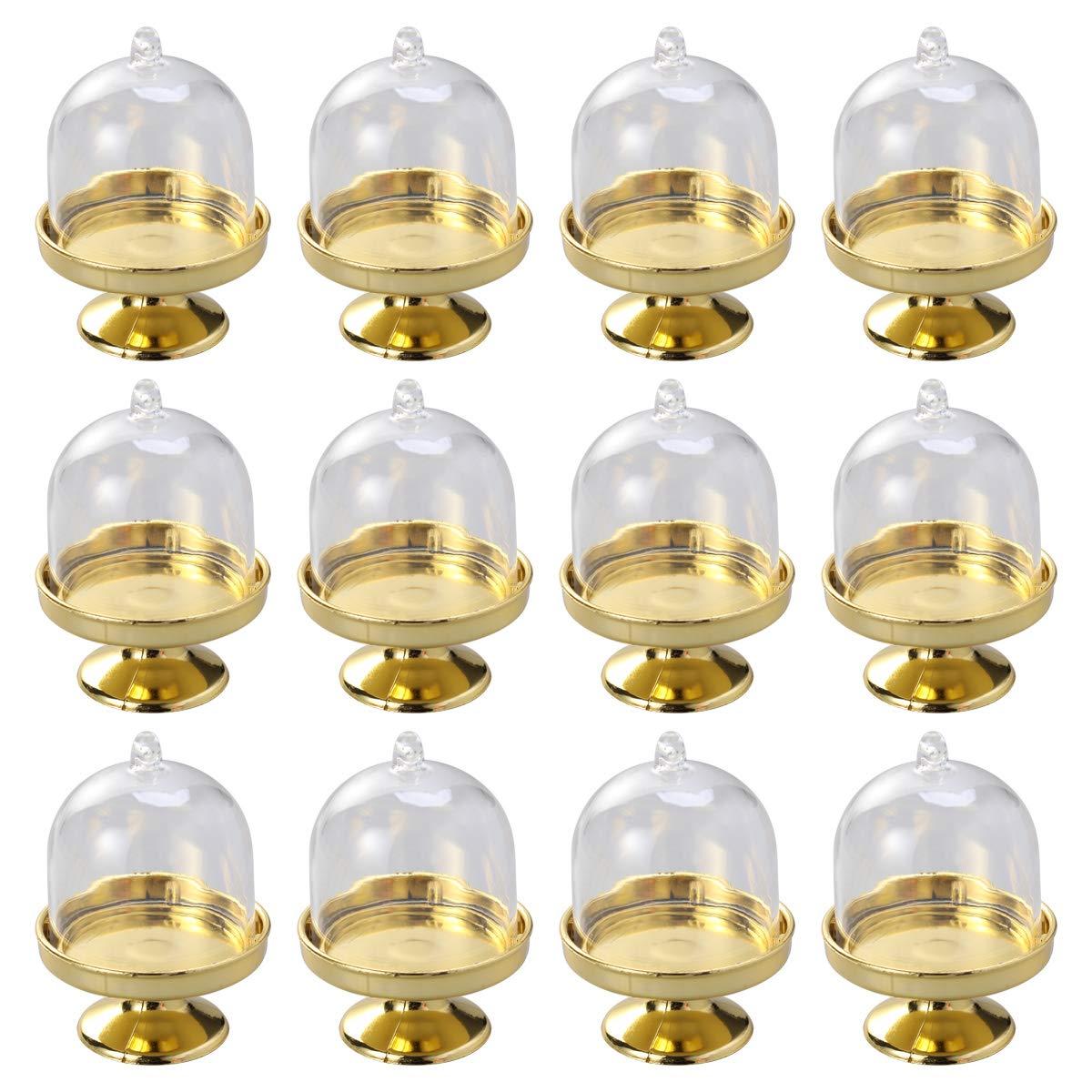 STOBOK 12pcs Mini Tortenst/änder Kuchenglocke Glasglocke mit Teller Hochzeit Party Servierplatte Goldene Basis