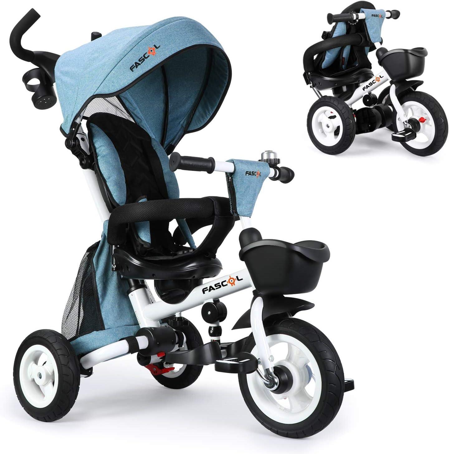 Fascol 6 en 1 Triciclos Bebés Plegables con Ruedas de Goma y 360° Asiento Giratorio, Triciclo Evolutivo para 6 Meses a 5 Años Niños con Capota Desmontable y Barra Telescópica, Carga Máxima 30 kg, Azul