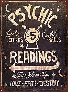 TSOSK Retro Metal Sign/Psychic Readings $5 Tarot Cards Crystal Balls Signs for Plaque Cave,Cafe,Club,Wall Art Metal Sign 12 X 8 inch