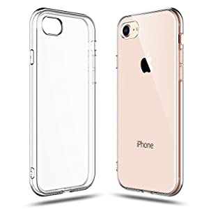 SHAMO'S Crystal Clear Shock Absorption TPU Rubber Gel Case (Clear) Compatible with iPhone 7 and 8