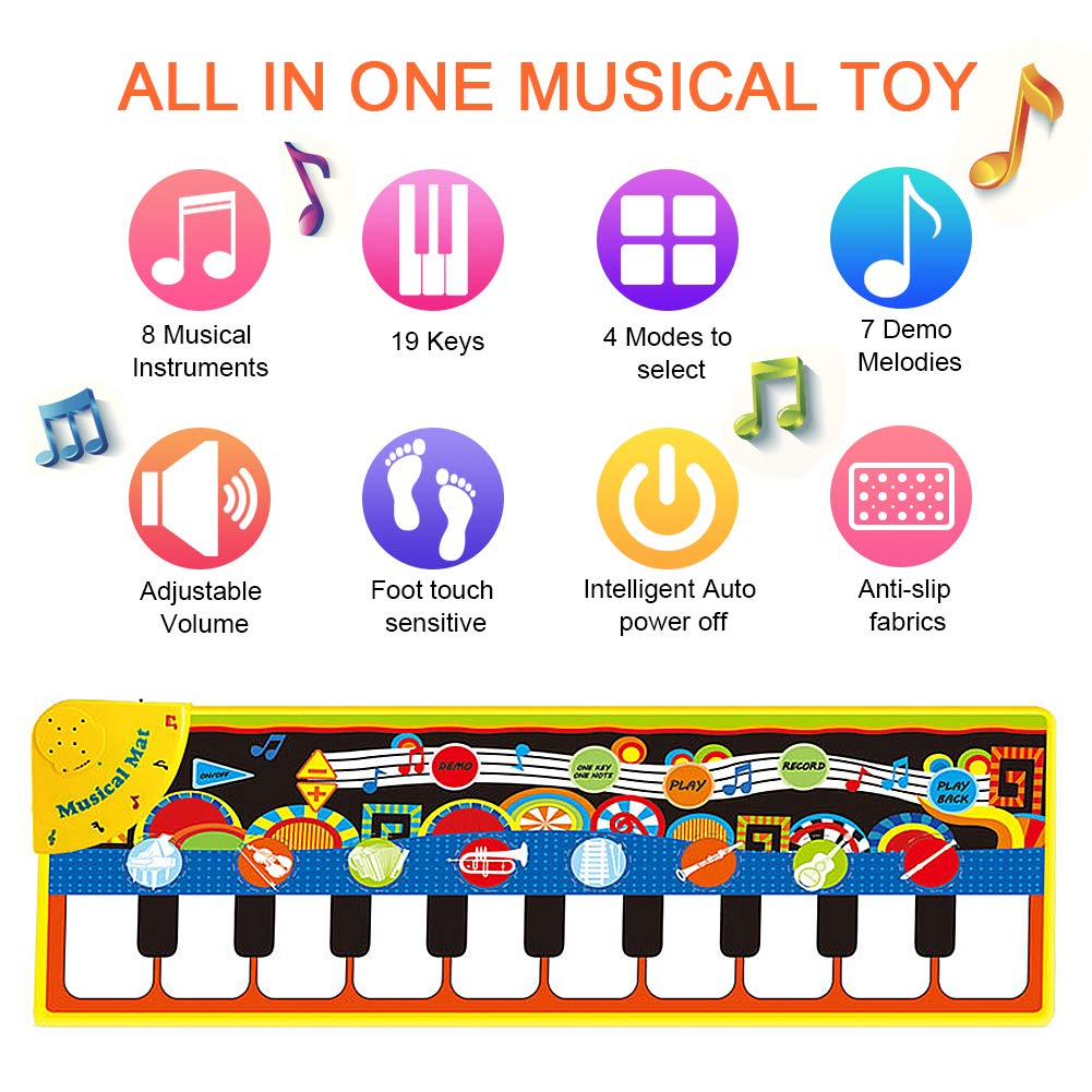 SuperWiner Musical Piano Mat,Kids Early Education Music Blanket,8 Musical Instruments,Demo Songs,19 Keys,Build-in Speaker and Recording Function Electronic Dance Mats(Black and White) by SuperWiner (Image #4)
