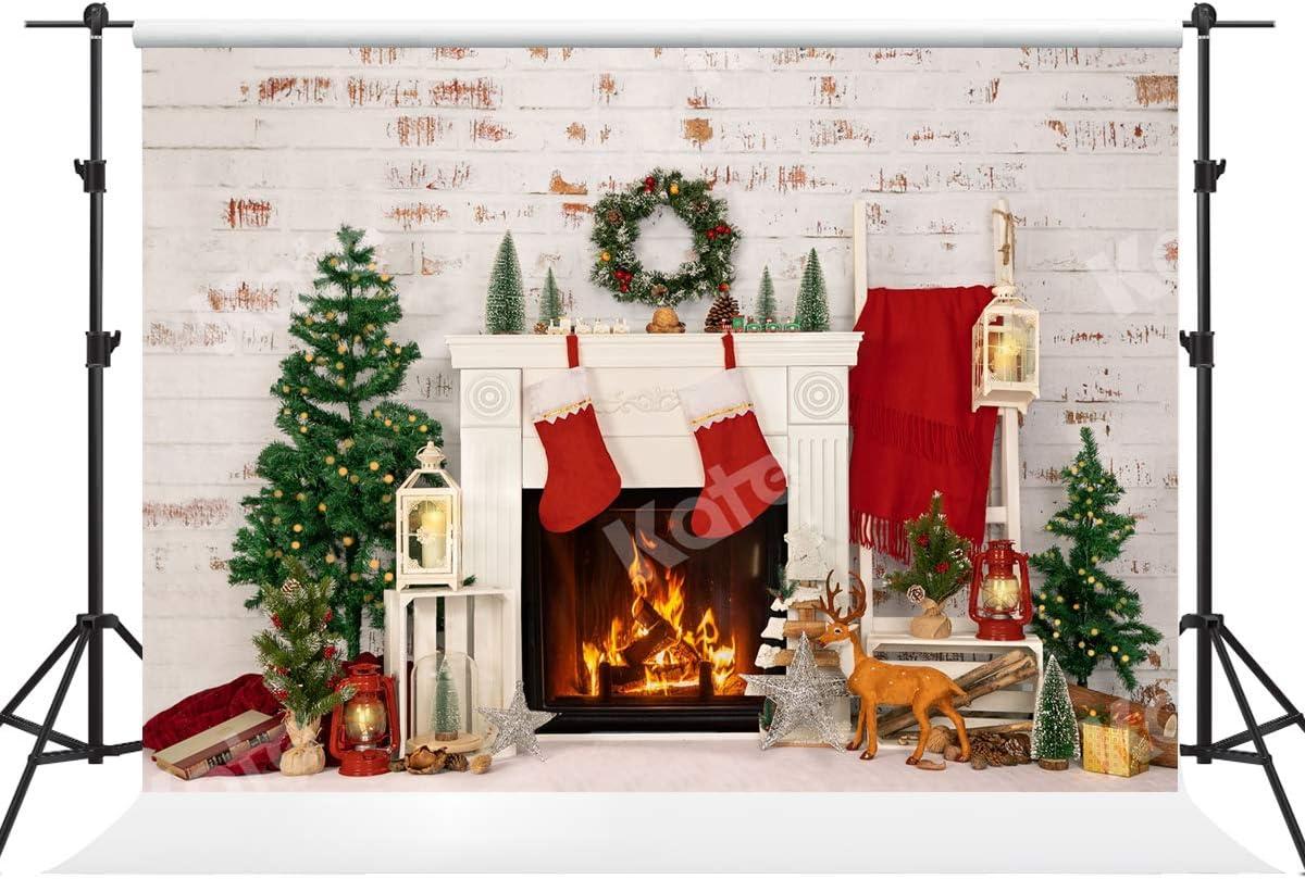 10x6.5ft Christmas Tree Photography Backdrops White Brick Fireplace Photo Background Xmas Microfiber Soft Fabric Backdrop for Photoshoot