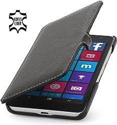 StilGut® Book Type Case, custodia in vera pelle a libro per Microsoft Lumia 535