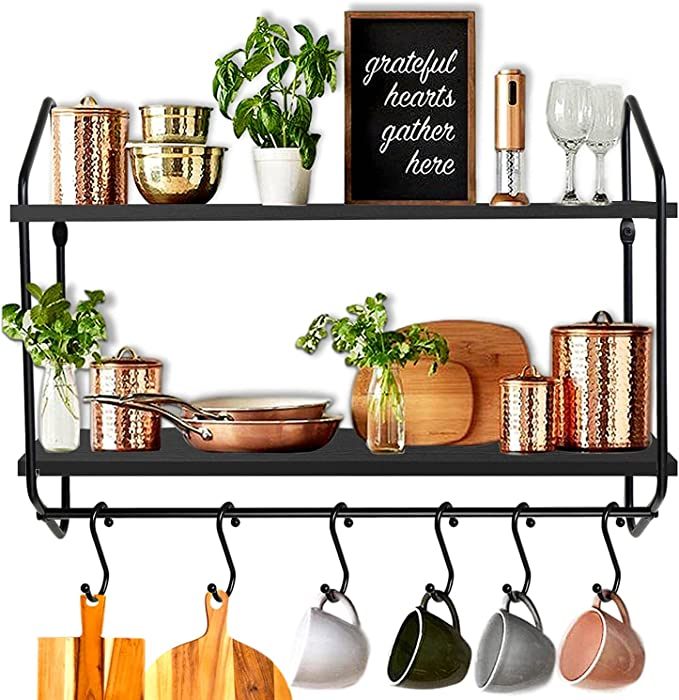 BOLUO Kitchen Wall Shelf Black Floating Shelves Bathroom Mounted Shelfs with Towel Bar Hooks for Coffee Mugs 24 Inch (WS604-60B)