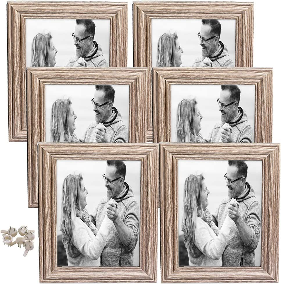hierkryst 5x7 Frame Wood Pattern Rustic Pictures Frames 5x7 Packs 6 with High Definition Glass for Tabletop or Wall Decor,Light Grey
