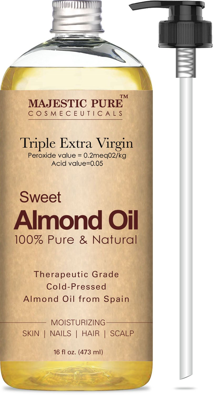 Majestic Pure Sweet Almond Oil, Super Triple A Grade Quality, 100% Pure and Natural from Spain, Cold Pressed, 16 fl oz. by Majestic Pure