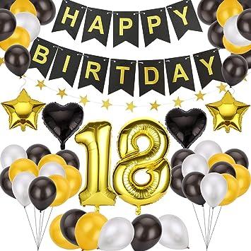 Ulikey Globos Cumpleaños Happy Birthday, 18 Cumpleaños Globos Decoración, Banner de Feliz cumpleaños Globos para Todos los Adultos para Hombres y ...
