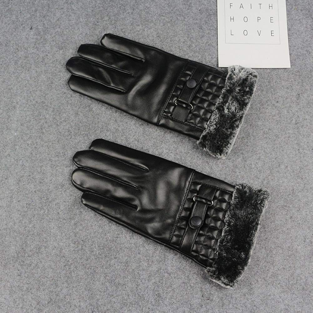 Alloet Winter Autumn Warm Gloves Men PU Leather Faux Rabbit Fur Touch Screen Glove