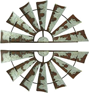Zeckos 24 inch Rusty Weathered Metal Half Windmill Farmhouse Wall Hangings Set of 2