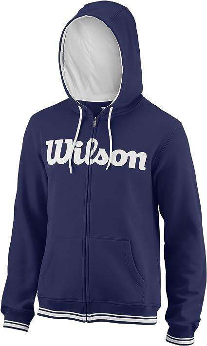 WRA765903 Gr/ö/ße: 2XL Blau//Wei/ß Baumwolle//Polyester M Team Script FZ Hoody Wilson Herren Sport-Kapuzenweste