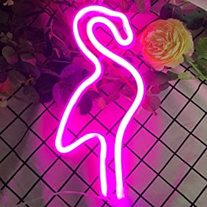 Flamingo Neon Light Led Neon Sign Wall Decor Battery or USB Powered Neon Lights Flamingo Neon Signs Light up for Kids Room, Party, Bar, Party, Christmas, Christmas-Pink Flamingo
