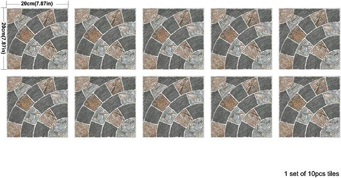 10pcs//1 Set Nordic Style Tile Stickers Waterproof Self-Adhesive Decorative Wall