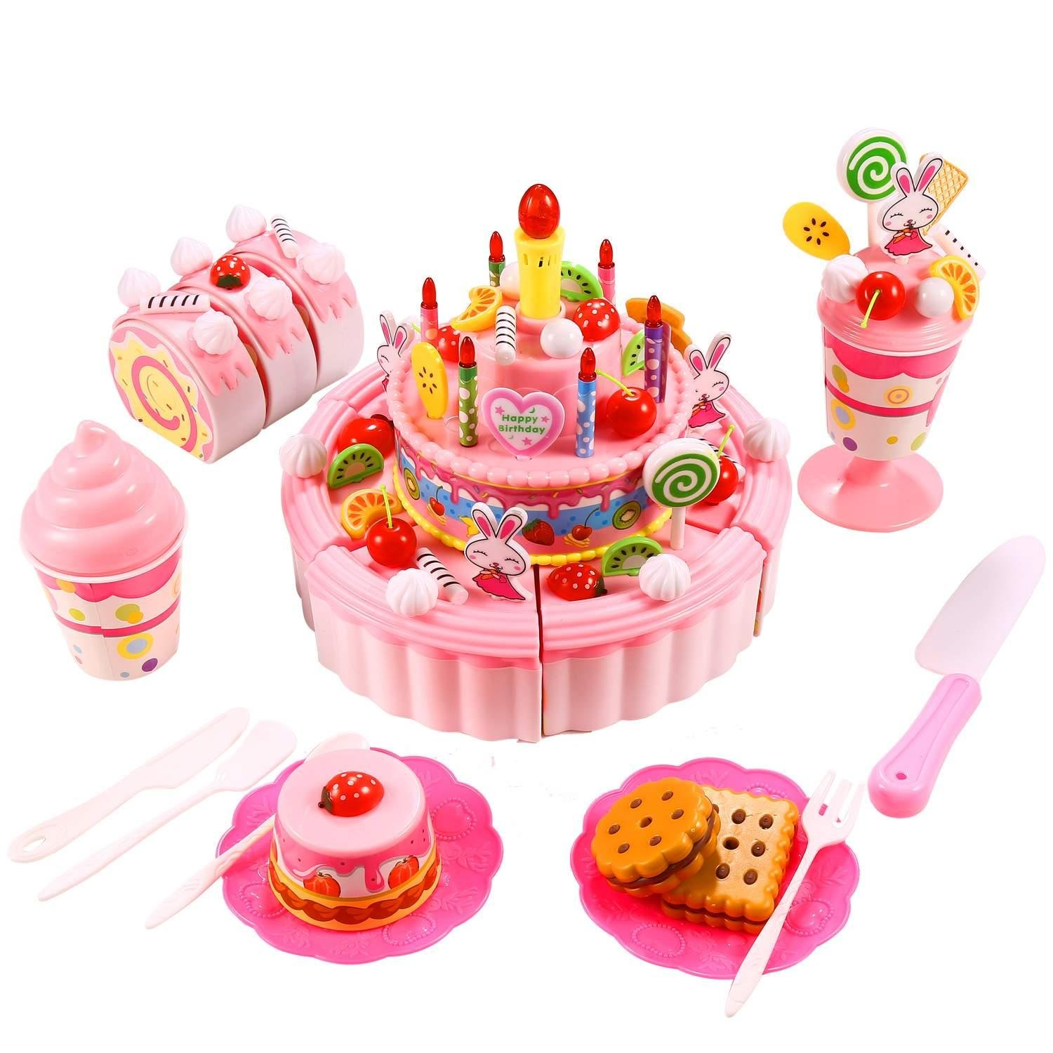 Amazon 33 Pcs Triple Layer Birthday Fruits Cake Toys Pretend Play Food Set With Music For Children Kids Above 3 Years Old Blue Games
