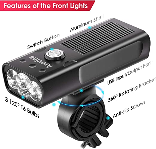 Waterproof Bike Front Rear Light Set Bicycle LED Lamp Cycling USB Rechargeable