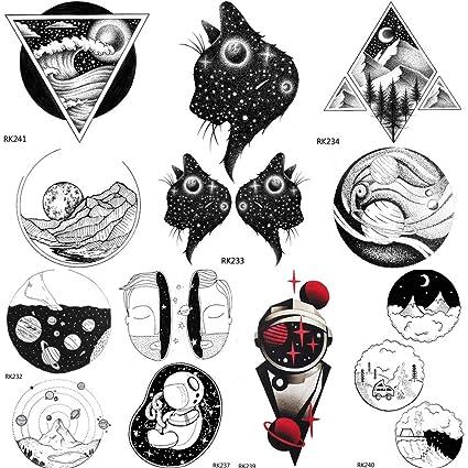 Etiqueta Engomada Del Tatuaje Temporal Sleeves Galaxy Cat Planetas ...