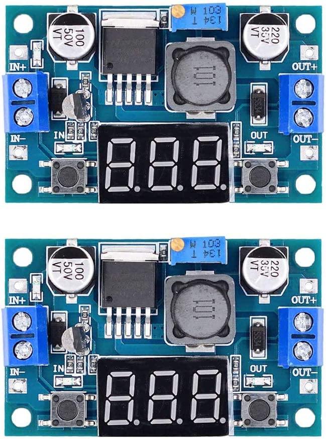 2 Pack LM2596 Buck Converter DC to DC Voltage Regulator with Digital Display 3.0-40V to 1.5-35V Power Supply Step Down Module