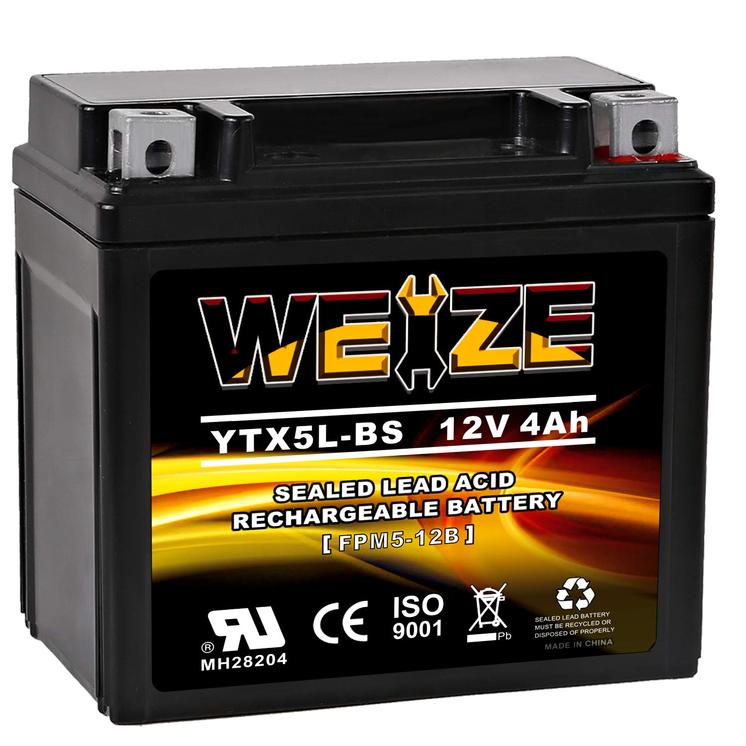 Weize YTX5L-BS High Performance - Maintenance Free - Sealed AGM Motorcycle CTX5L Battery Replacement For Honda YUASA Yamaha ETX5L BS Batteries by WEIZE
