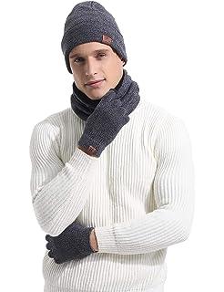 Abollria Set Pacco da 3 Coordinati Invernali Unisex Cappello Berretto Invernale  da Uomo   Sciarpa Invernale 2d32c2f6780c