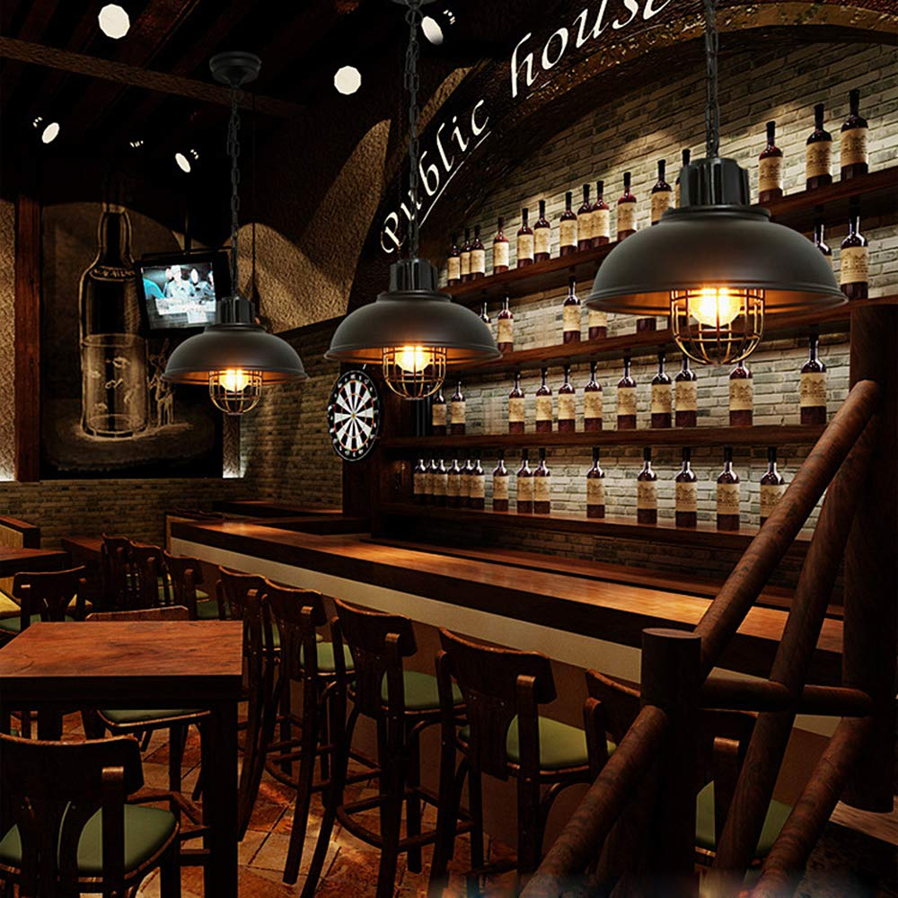 nero Bar Decorazione ristorante Luci Luci stile americano Lampadario esterno Lampadario vintage retr/ò