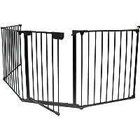 KIDUKU/® Barrera de seguridad Reja de protecci/ón Quitafuegos para chimenea parque para ni/ños corralito longitud de 300 cm negro