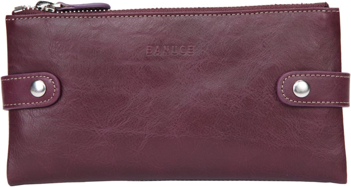 Banuce Full Grain Leather Long Bifold Wallet for Women Zipper Clutch Purse Multi Card Organizer