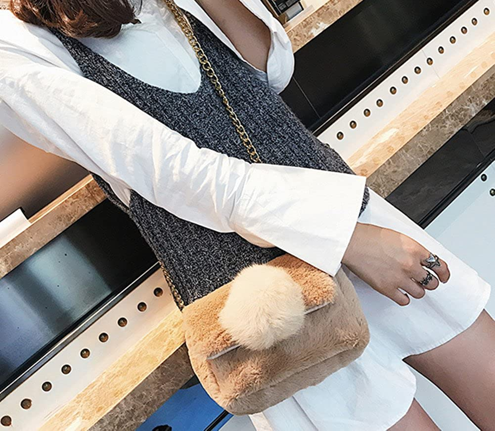 Skyseen Girls Plush Chain Shoulder Crossbody Messenger Bag Cellphone Pouch