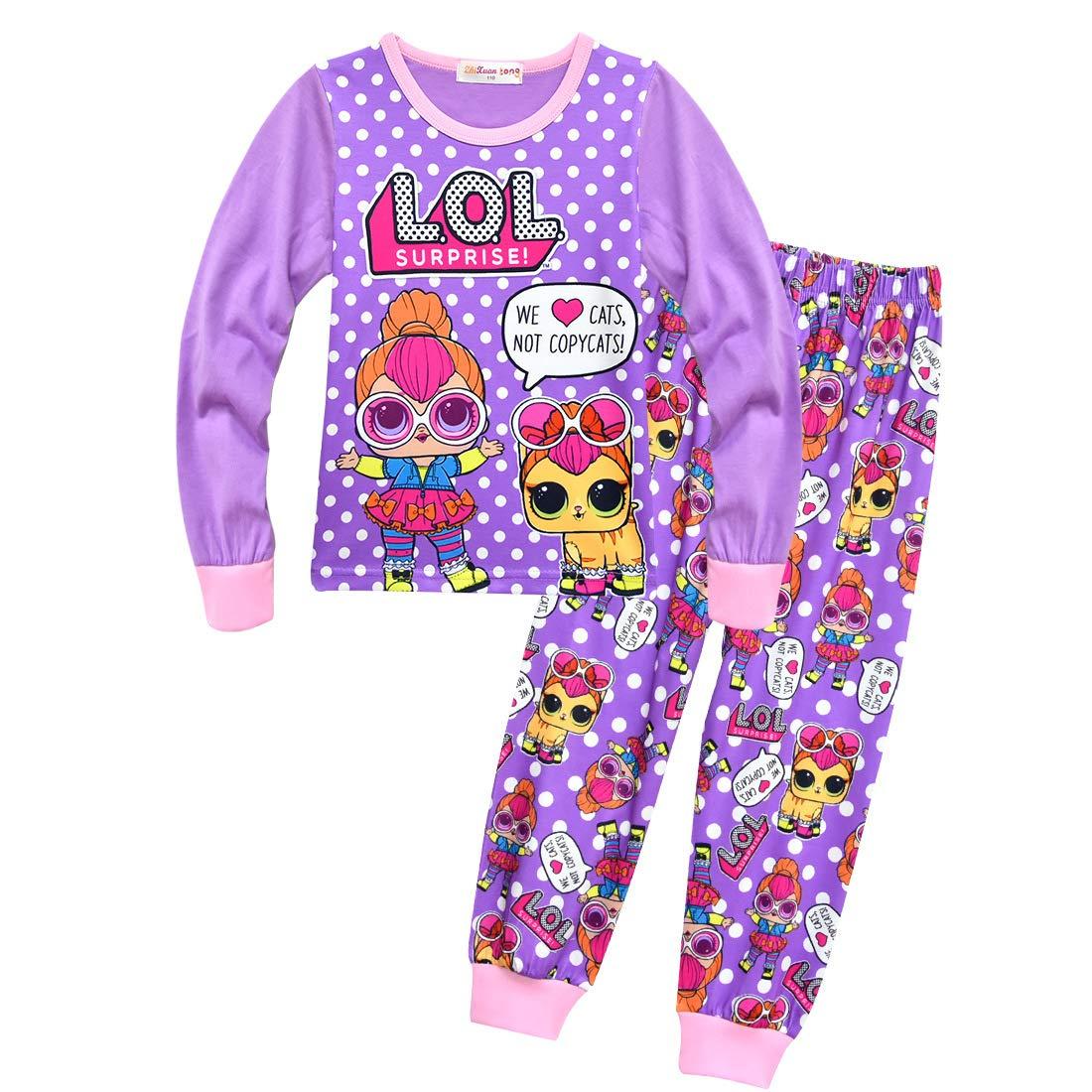 Dgfstm Christmas Girls Cute Confetti Pop Lil Sisters & Pets Pjs Pyjamas Set Nighties