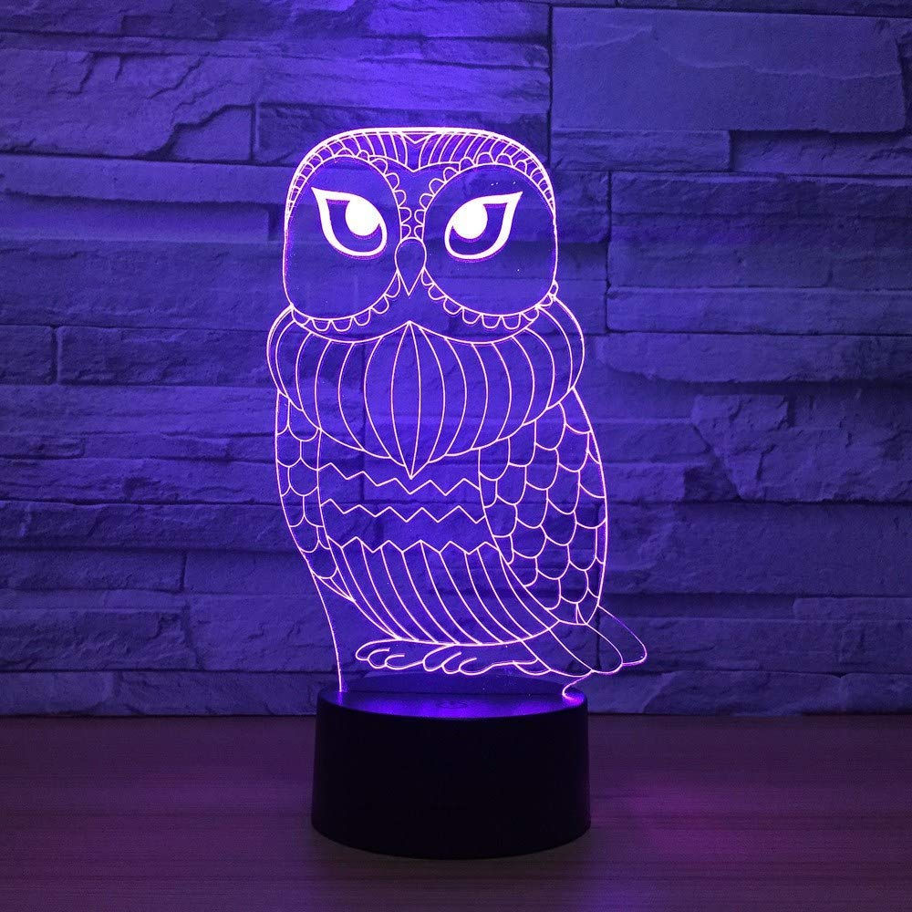 OVIIVO Creative Table Lamp Desk Lamp 3D Lamp Cute Owl 7 Color Led Night Lamps for Kid Touch Led USB Table Lampara Baby Sleeping Nightlight Led with Sensor Using for Reading, Working by OVIIVO (Image #3)