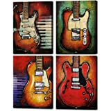 """Abstract Guitar Music Wall Art Canvas Red Purple Prints Paintings Home Decor Decal Life Pictures 4 Panel Large Posters HD Printed for Bedroom Living Room Wooden Framed Ready to Hang(12""""x16"""", 4 Panels)"""