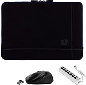 Shock Absorbing Navy Blue Laptop Sleeve, USB Hub, Mouse for Dell Inspiron, Latitude, Chromebook 13.3 inch