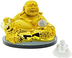 ZYHW Gold Laughing Buddha Dashboard Decorations Accessories Car Ornament Figurines Home Office Desk Decor(White)