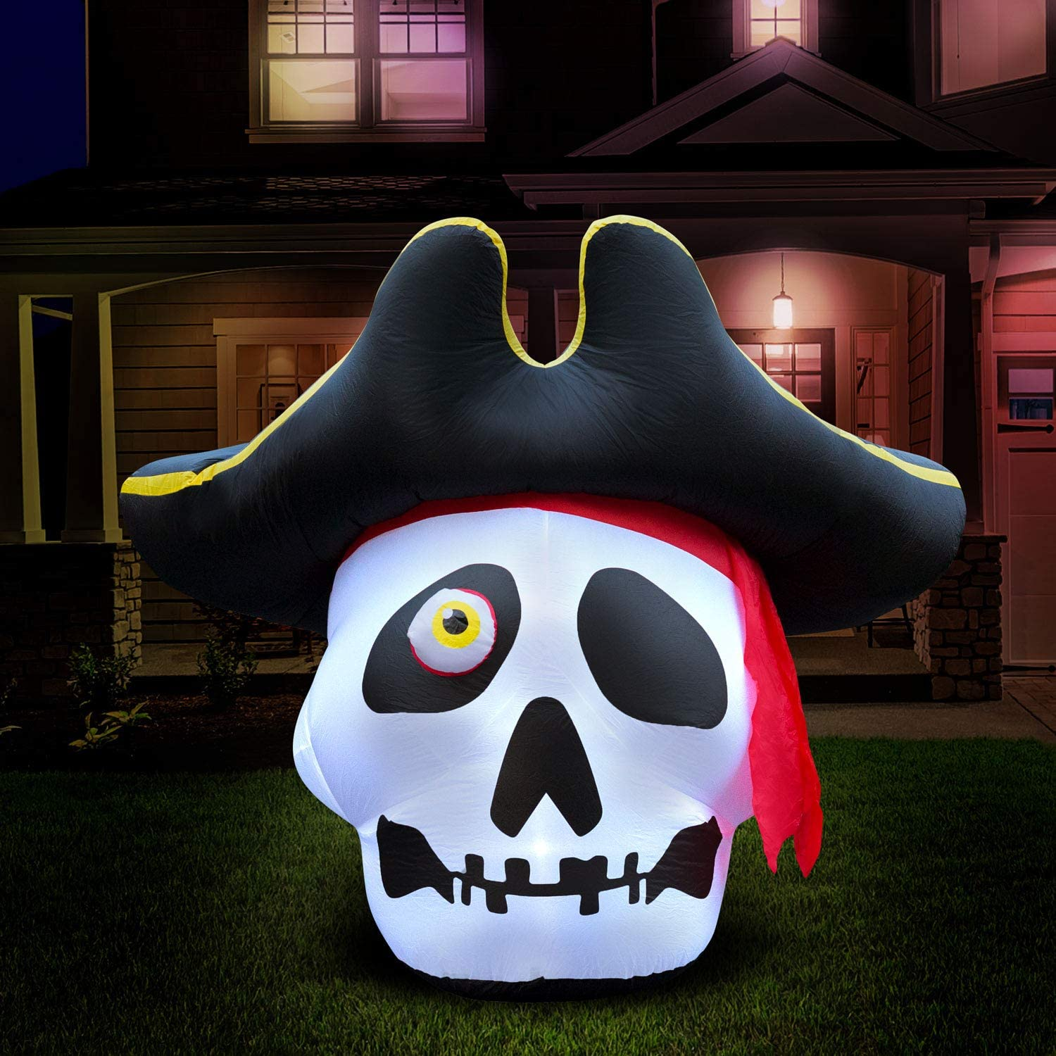 Holidayana 5 ft Inflatable Halloween Pirate Skull Yard Decoration - 5 ft Tall Airblown Lawn Decoration, Bright Internal Lights, Built-in Fan, and Included Stakes and Ropes