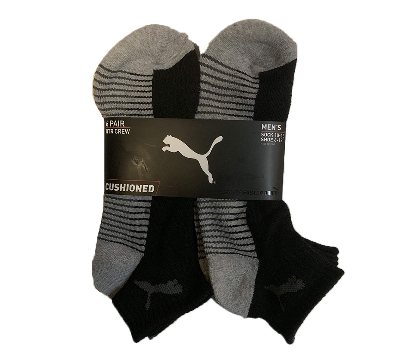Puma Men's 6 Pack Quarter Crew Socks (Black/Gray 6, Sock 10-13, Shoe 6-12) by PUMA