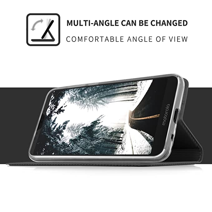BasicStock Carcasa Motorola Moto E5 Plus Funda de Piel, Silm PU ...
