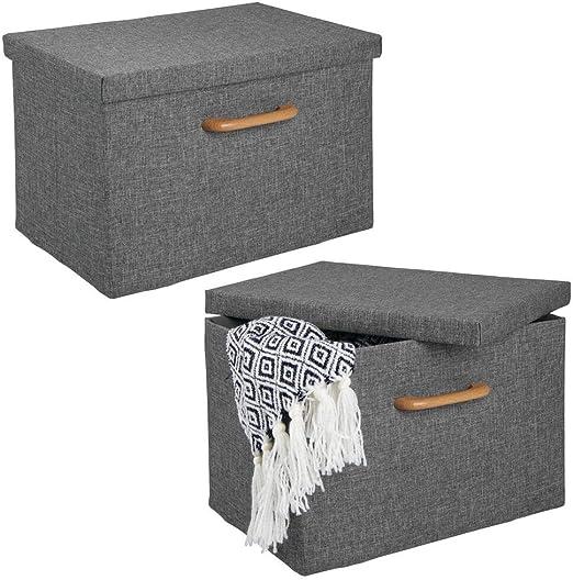 mDesign Juego de 2 cajas organizadoras – Caja apilable con ...