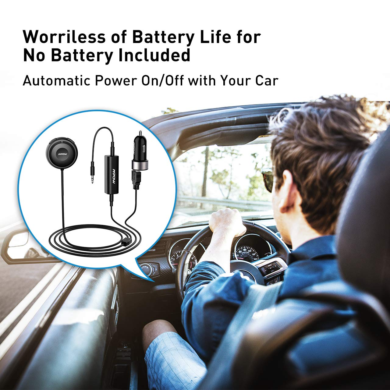 Mpow Bluetooth Receiver Car, Hands-Free Car Kits/Bluetooth AUX Car Adapter 3 in 1 Dual USB Car Charger & Ground Loop Noise Isolator Car Audio System (HFP/HSP/A2DP/AVRCP) by Mpow (Image #5)